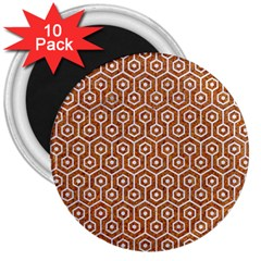Hexagon1 White Marble & Rusted Metal 3  Magnets (10 Pack)  by trendistuff
