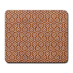 Hexagon1 White Marble & Rusted Metal Large Mousepads by trendistuff