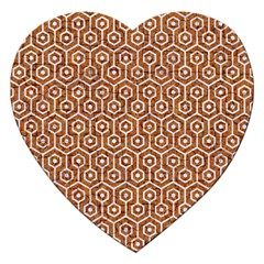 Hexagon1 White Marble & Rusted Metal Jigsaw Puzzle (heart) by trendistuff