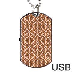 Hexagon1 White Marble & Rusted Metal Dog Tag Usb Flash (one Side) by trendistuff