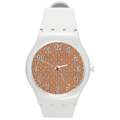 Hexagon1 White Marble & Rusted Metal Round Plastic Sport Watch (m) by trendistuff