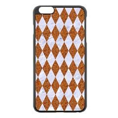 Diamond1 White Marble & Rusted Metal Apple Iphone 6 Plus/6s Plus Black Enamel Case by trendistuff