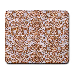 Damask2 White Marble & Rusted Metal (r) Large Mousepads by trendistuff