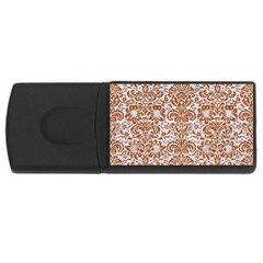Damask2 White Marble & Rusted Metal (r) Rectangular Usb Flash Drive by trendistuff
