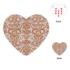 Damask2 White Marble & Rusted Metal (r) Playing Cards (heart)  by trendistuff