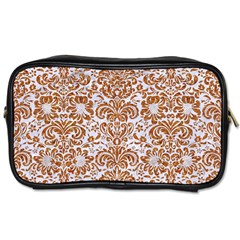 Damask2 White Marble & Rusted Metal (r) Toiletries Bags 2 Side by trendistuff
