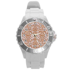 Damask2 White Marble & Rusted Metal (r) Round Plastic Sport Watch (l) by trendistuff