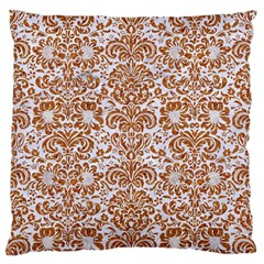 Damask2 White Marble & Rusted Metal (r) Large Flano Cushion Case (one Side) by trendistuff