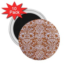 Damask2 White Marble & Rusted Metal 2 25  Magnets (10 Pack)  by trendistuff
