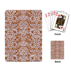Damask2 White Marble & Rusted Metal Playing Card by trendistuff