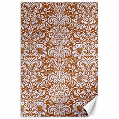 Damask2 White Marble & Rusted Metal Canvas 24  X 36  by trendistuff