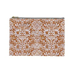 Damask2 White Marble & Rusted Metal Cosmetic Bag (large)  by trendistuff