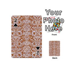 Damask2 White Marble & Rusted Metal Playing Cards 54 (mini)  by trendistuff