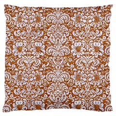Damask2 White Marble & Rusted Metal Large Cushion Case (one Side) by trendistuff