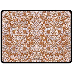 Damask2 White Marble & Rusted Metal Double Sided Fleece Blanket (large)  by trendistuff