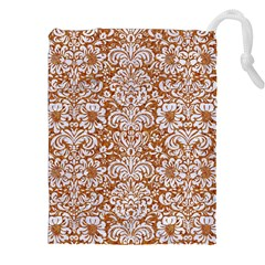 Damask2 White Marble & Rusted Metal Drawstring Pouches (xxl) by trendistuff