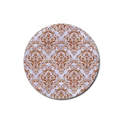 Damask1 White Marble & Rusted Metal (r) Rubber Coaster (round)  by trendistuff