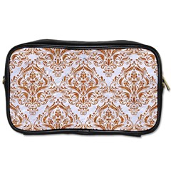 Damask1 White Marble & Rusted Metal (r) Toiletries Bags 2 Side by trendistuff