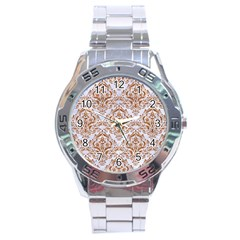 Damask1 White Marble & Rusted Metal (r) Stainless Steel Analogue Watch by trendistuff