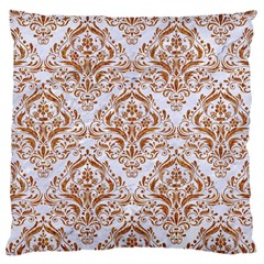 Damask1 White Marble & Rusted Metal (r) Large Cushion Case (two Sides) by trendistuff