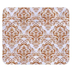 Damask1 White Marble & Rusted Metal (r) Double Sided Flano Blanket (small)  by trendistuff