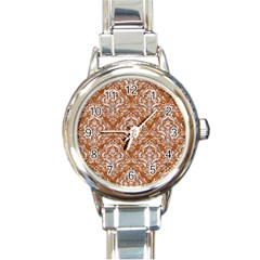 Damask1 White Marble & Rusted Metal Round Italian Charm Watch by trendistuff