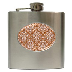 Damask1 White Marble & Rusted Metal Hip Flask (6 Oz) by trendistuff