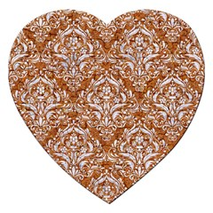 Damask1 White Marble & Rusted Metal Jigsaw Puzzle (heart) by trendistuff