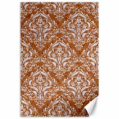 Damask1 White Marble & Rusted Metal Canvas 12  X 18   by trendistuff