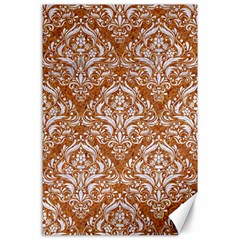 Damask1 White Marble & Rusted Metal Canvas 24  X 36  by trendistuff