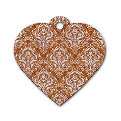 Damask1 White Marble & Rusted Metal Dog Tag Heart (two Sides) by trendistuff