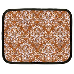 Damask1 White Marble & Rusted Metal Netbook Case (large) by trendistuff