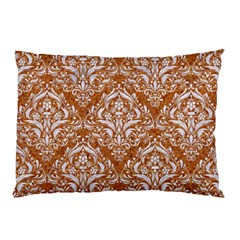 Damask1 White Marble & Rusted Metal Pillow Case by trendistuff
