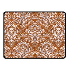 Damask1 White Marble & Rusted Metal Fleece Blanket (small) by trendistuff