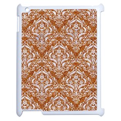 Damask1 White Marble & Rusted Metal Apple Ipad 2 Case (white) by trendistuff
