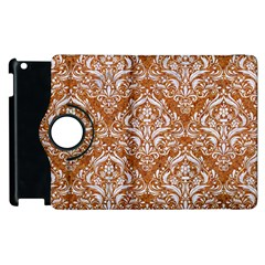 Damask1 White Marble & Rusted Metal Apple Ipad 2 Flip 360 Case by trendistuff