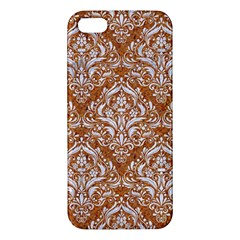 Damask1 White Marble & Rusted Metal Apple Iphone 5 Premium Hardshell Case by trendistuff