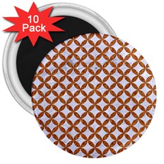 Circles3 White Marble & Rusted Metal (r) 3  Magnets (10 Pack)  by trendistuff