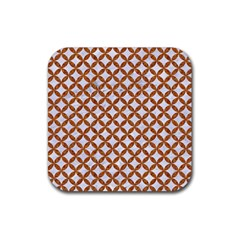 Circles3 White Marble & Rusted Metal (r) Rubber Square Coaster (4 Pack)  by trendistuff