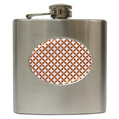 Circles3 White Marble & Rusted Metal (r) Hip Flask (6 Oz) by trendistuff