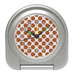 Circles2 White Marble & Rusted Metal (r) Travel Alarm Clocks by trendistuff