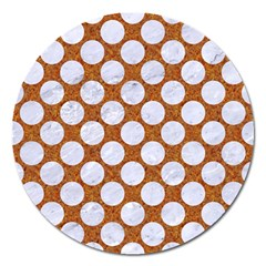 Circles2 White Marble & Rusted Metal Magnet 5  (round) by trendistuff