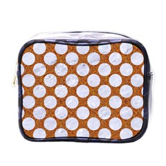 Circles2 White Marble & Rusted Metal Mini Toiletries Bags by trendistuff