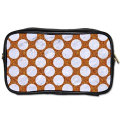 Circles2 White Marble & Rusted Metal Toiletries Bags 2 Side by trendistuff