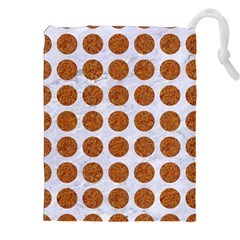 Circles1 White Marble & Rusted Metal (r) Drawstring Pouches (xxl) by trendistuff