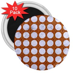 Circles1 White Marble & Rusted Metal 3  Magnets (10 Pack)  by trendistuff