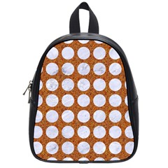 Circles1 White Marble & Rusted Metal School Bag (small) by trendistuff