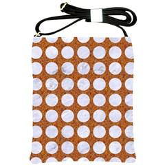 Circles1 White Marble & Rusted Metal Shoulder Sling Bags by trendistuff