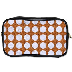 Circles1 White Marble & Rusted Metal Toiletries Bags 2 Side by trendistuff