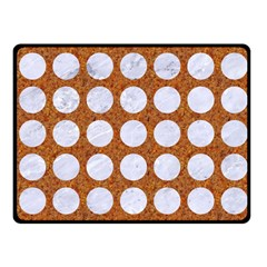 Circles1 White Marble & Rusted Metal Fleece Blanket (small) by trendistuff